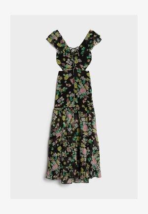MIT PRINT UND VOLANTS  - Długa sukienka - black
