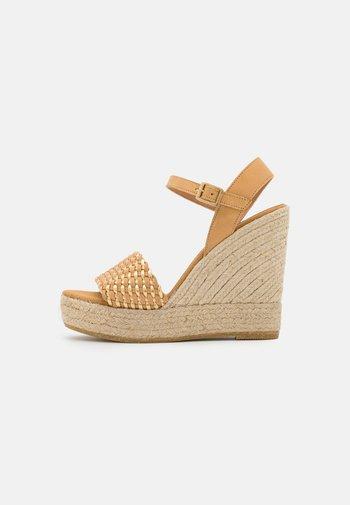 SOFIA - Platform sandals - beige/gold