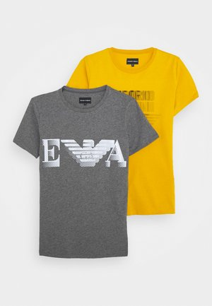 2 PACK - T-shirt con stampa - grey/yellow