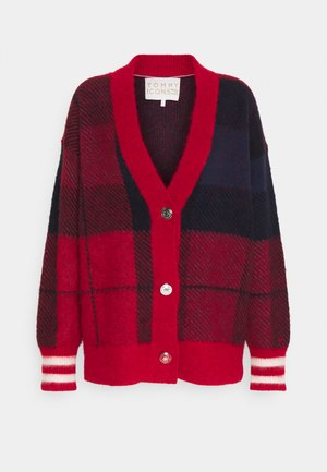 ICON CHECK - Cardigan - red/blue