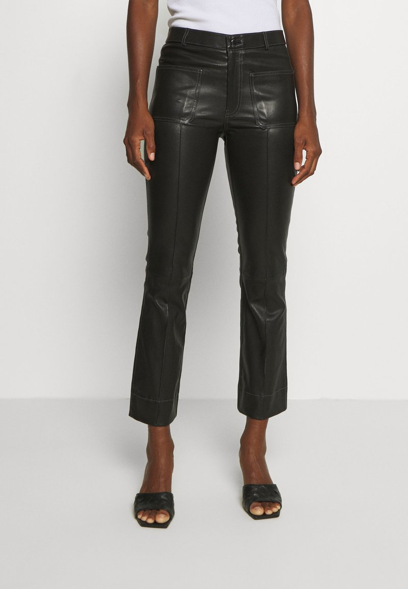Ibana - ESTELLE - Leather trousers - black