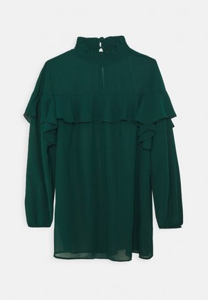 RUFFLE FRONT BLOUSE - Blouse - emerald green