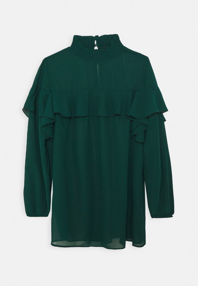 RUFFLE FRONT BLOUSE - Bluser - emerald green