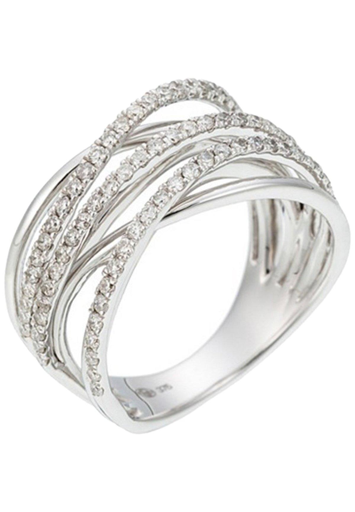 Damen WHITE GOLD RING 9K CERTIFIED 80 DIAMONDS HSI 0.64 CT - Ring