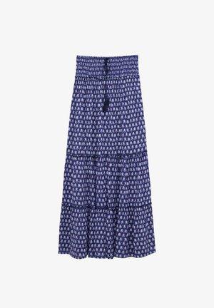 MIT FLIESENDEM PRINT - Maxi skirt - dark blue denim