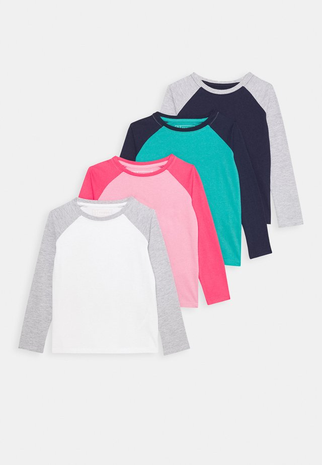 4 PACK - Long sleeved top - pink/dark blue/turquoise