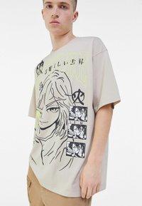 Bershka - Print T-shirt - beige - 3