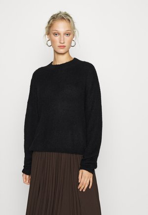 WOOL BLEND GATHERED JUMPER - Sweter - black
