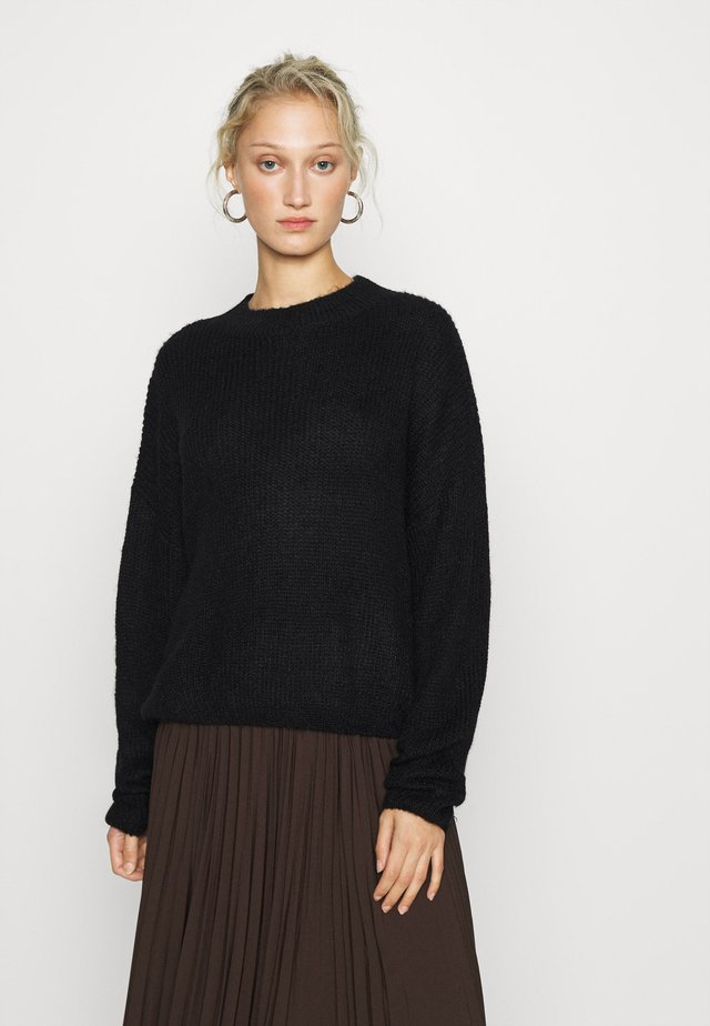 WOOL BLEND GATHERED JUMPER - Jumper - black