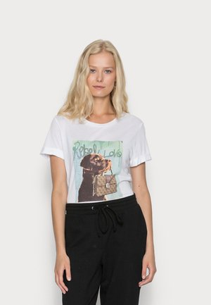 DOG AND PURSE ROLL TEE - Print T-shirt - pure white