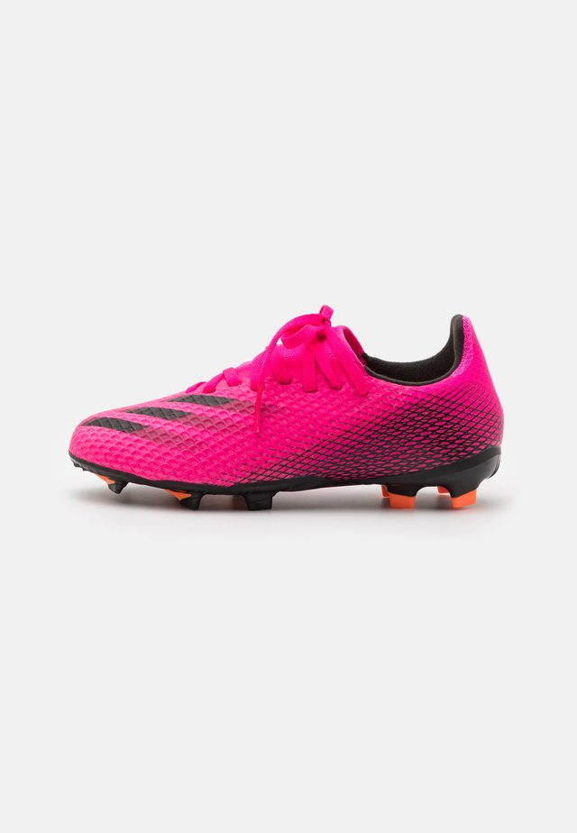 X GHOSTED.3 FG UNISEX - Moulded stud football boots - shock pink/core black/screaming orange