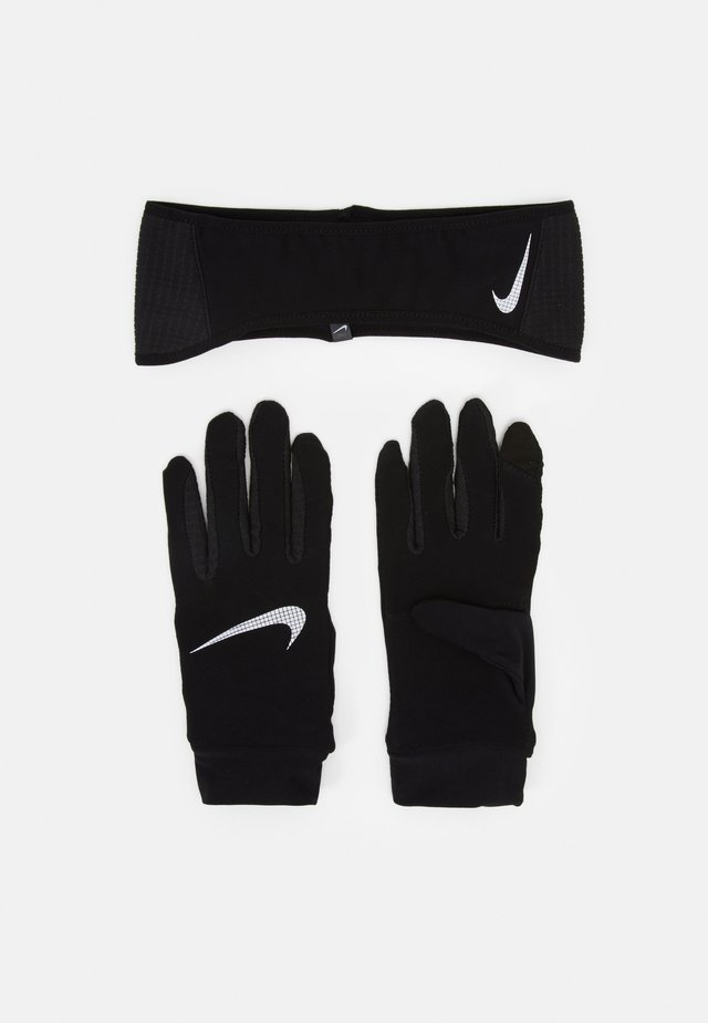 MENS ESSENTIAL RUNNING HEADBAND AND GLOVE SET - Cache-oreilles - black/silver
