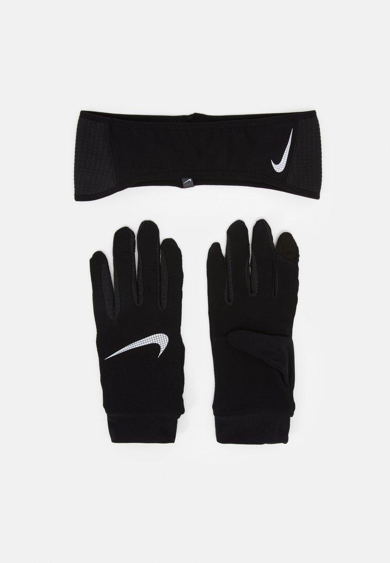 Nike Performance - MENS ESSENTIAL RUNNING HEADBAND AND GLOVE SET - Guanti - black/silver