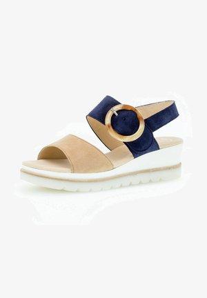 Platform sandals - caramel/bluette