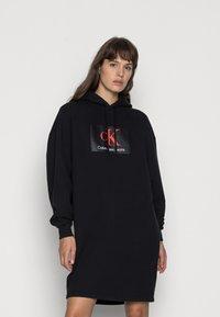 Calvin Klein Jeans - OVERSIZED HOODIE DRESS - Day dress - black - 0
