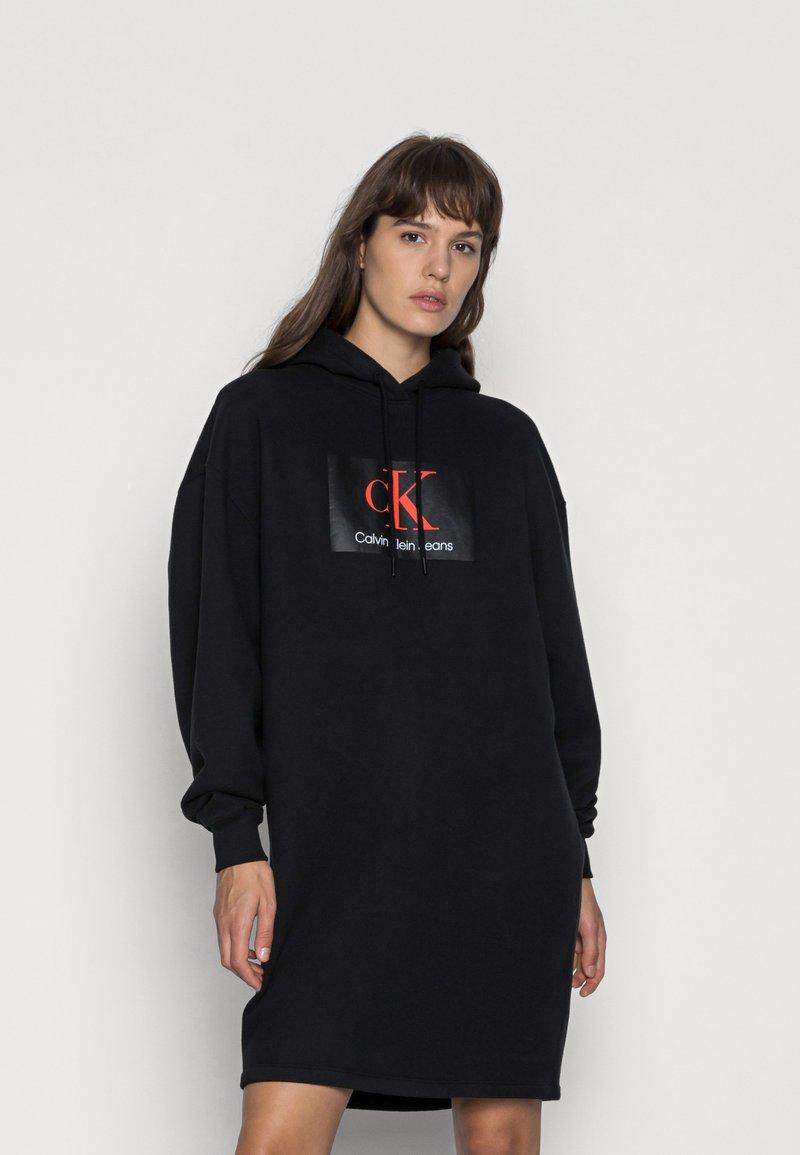 Calvin Klein Jeans - OVERSIZED HOODIE DRESS - Day dress - black