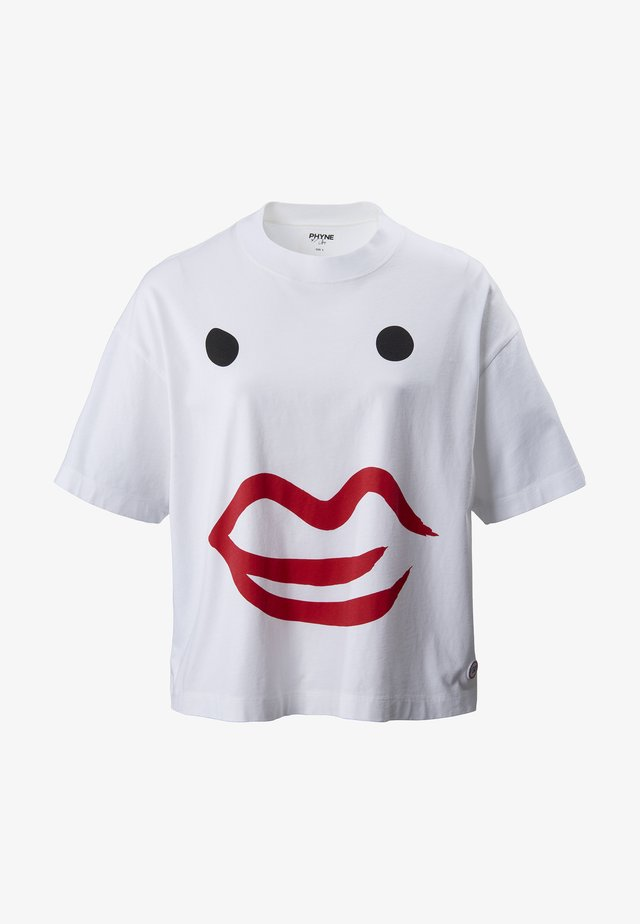 THE KISS FACE BOXY - Print T-shirt - white