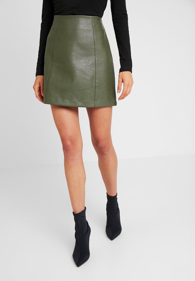 New Look - SEAMED - A-line skirt - dark khaki