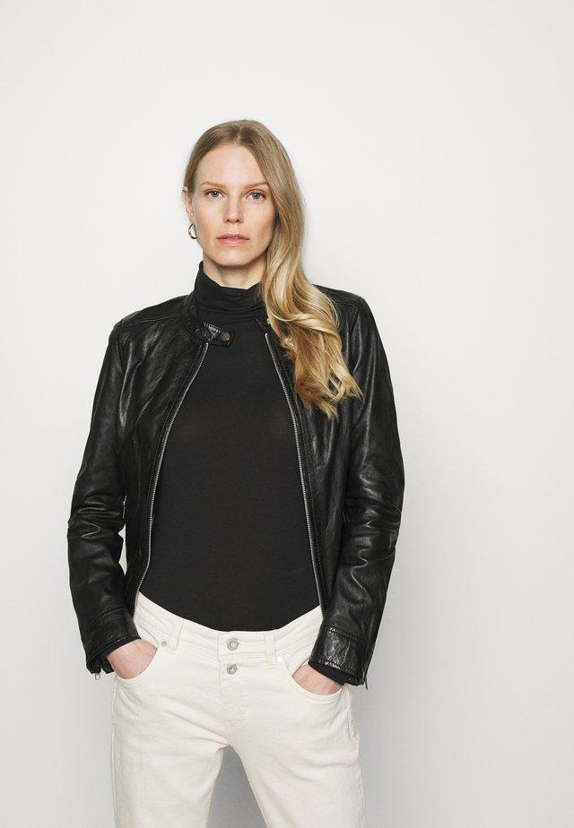 LINA - Leather jacket - black