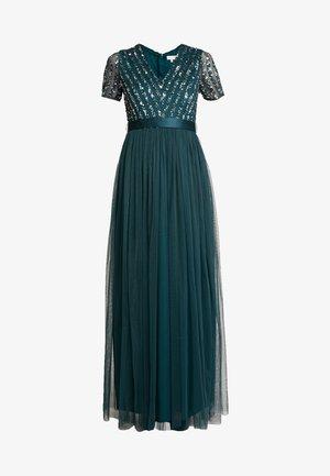 STRIPE EMBELLISHED MAXI DRESS WITH BOW TIE - Abito da sera - emerald