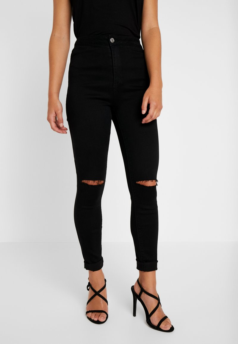 Missguided Petite - VICE HIGHWAISTED SLASH KNEE - Jeans Skinny Fit - black
