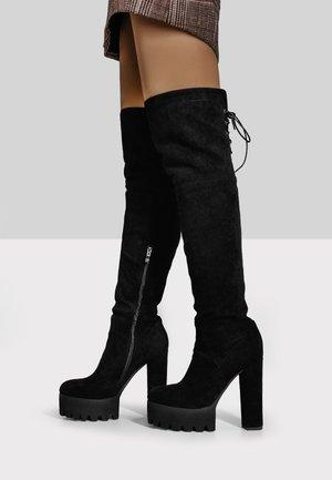 Over-the-knee boots - mottled black