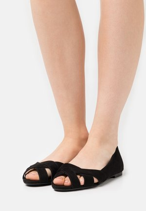 Peeptoe ballet pumps - black
