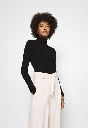 BASIC- RIBBED TURTLE NECK - Stickad tröja - black