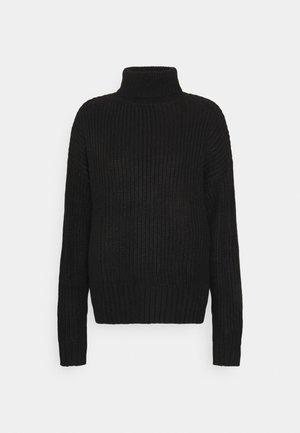 BASIC- Roll neck- long line - Jumper - black