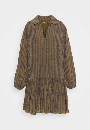 LADIES DRESS GINGHAM - Shirt dress - olive metallic