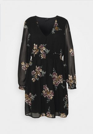 VMALLIE SHORT SMOCK DRESS - Korte jurk - black/allie yellow
