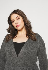 Kaffe Curve - KCWELLY WRAP - Cardigan - dark grey mélange - 4