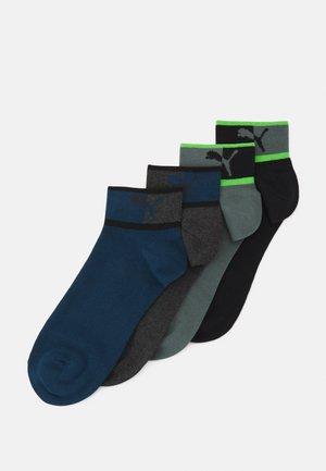MEN BLOCKED LOGO QUARTER 4 PACK - Ankelsockor - green/blue combo