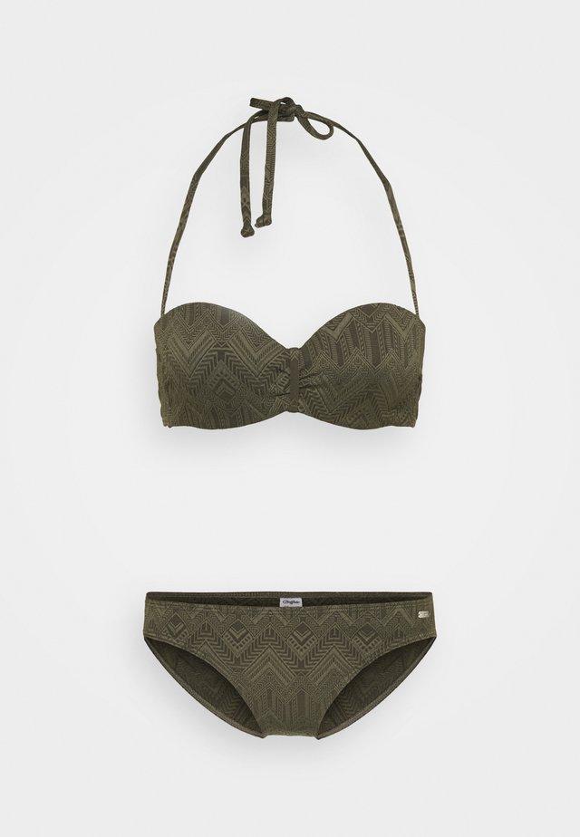WIRE BANDEAU SET - Bikini - oliv