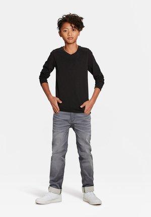 WE FASHION JONGENS V-NECK T-SHIRT, 2-PACK - Bluzka z długim rękawem - black
