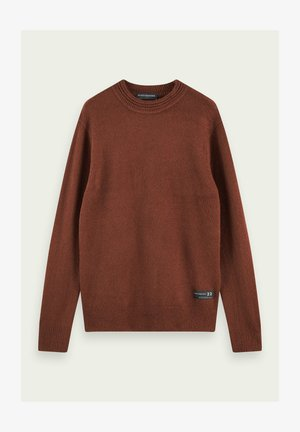 Stickad tröja - russet melange