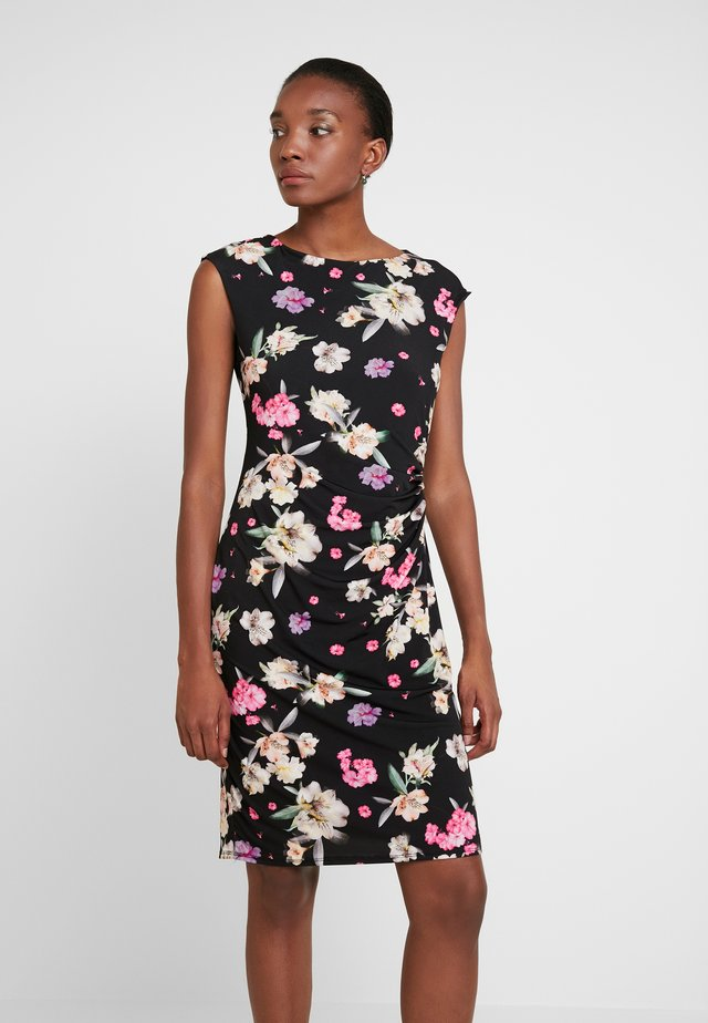SUMMER PETAL RUCH SIDE DRESS - Vestido de cóctel - black