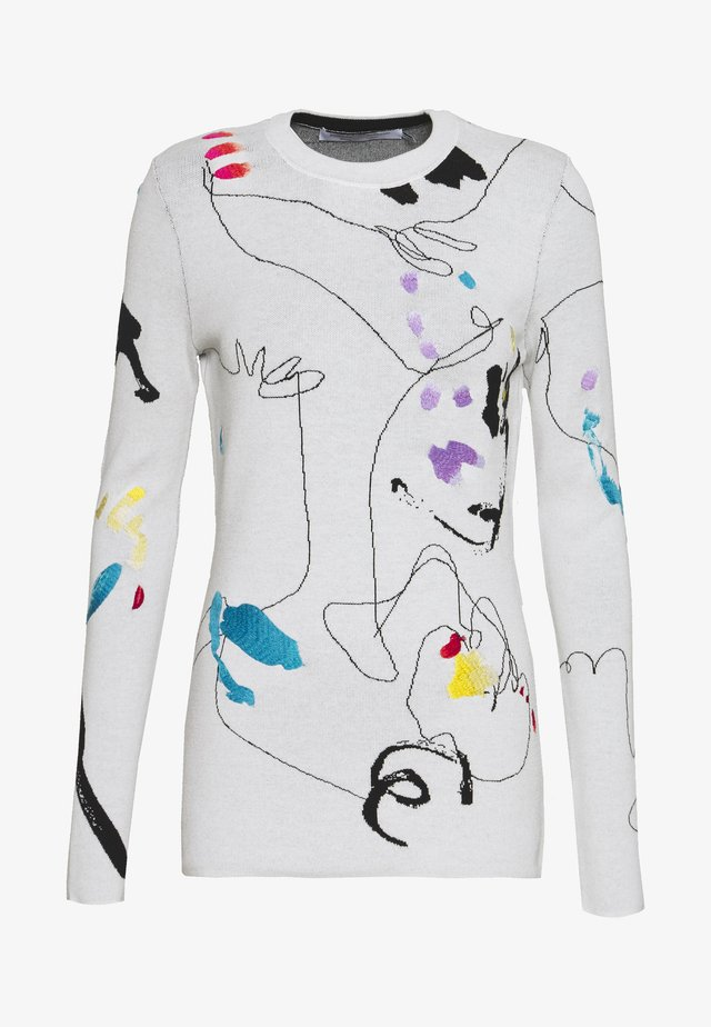 EMBROIDERED - Pullover - off white/black