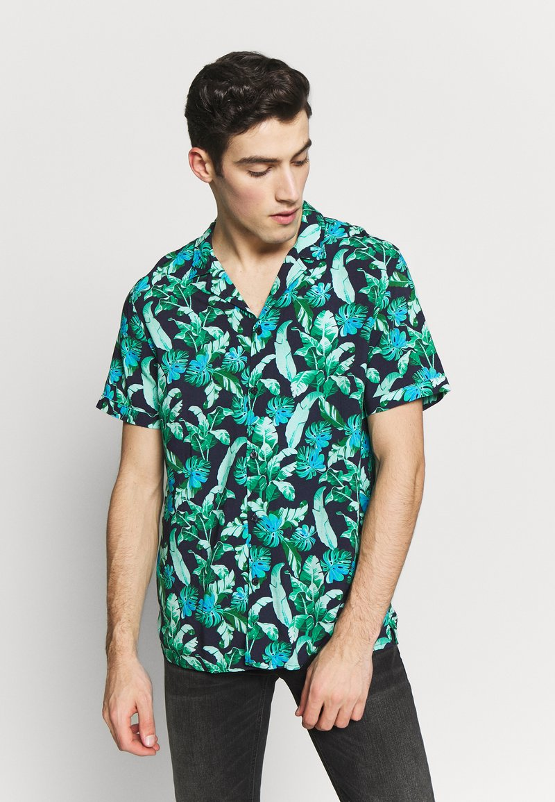 Guess - RESORT  - Shirt - green leaves on blue