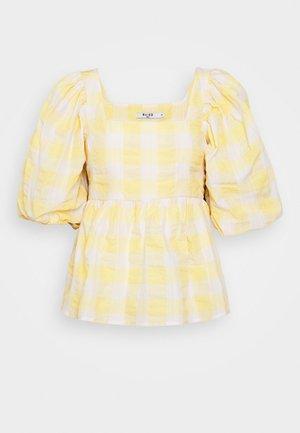 PUFF SLEEVE SMOCK BLOUSE - Bluzka - white/yellow