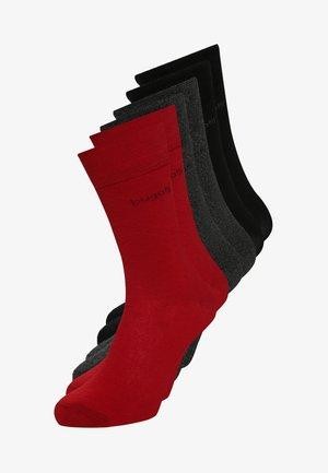 6 PACK - Skarpety - rio red/anthracite melange/black