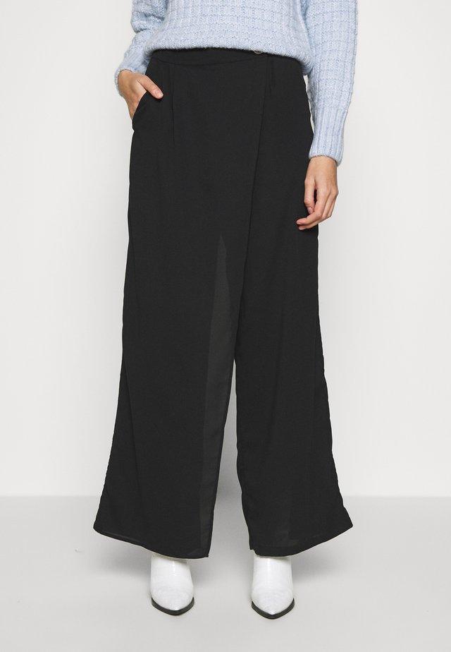 WRAP FRONT TROUSER - Pantalones - black