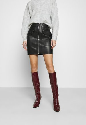 ZIP FRONT SKIRT - Mini skirt - black