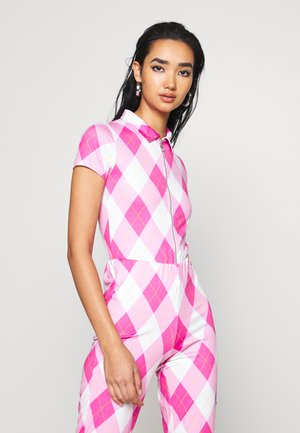 SHORT SLEEVE WITH COLLAR & ZIP DIAMOND CHECK - T-shirts med print - pink