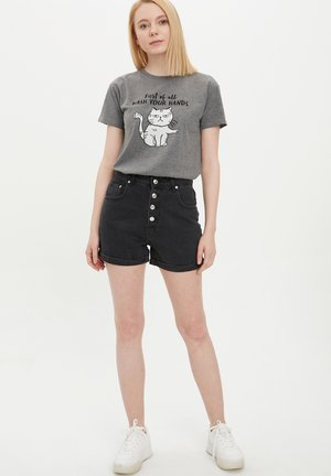 Denim shorts - black
