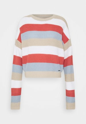 STRIPE HONEYCOMB CREW  - Svetr - rust/light blue/white/tan