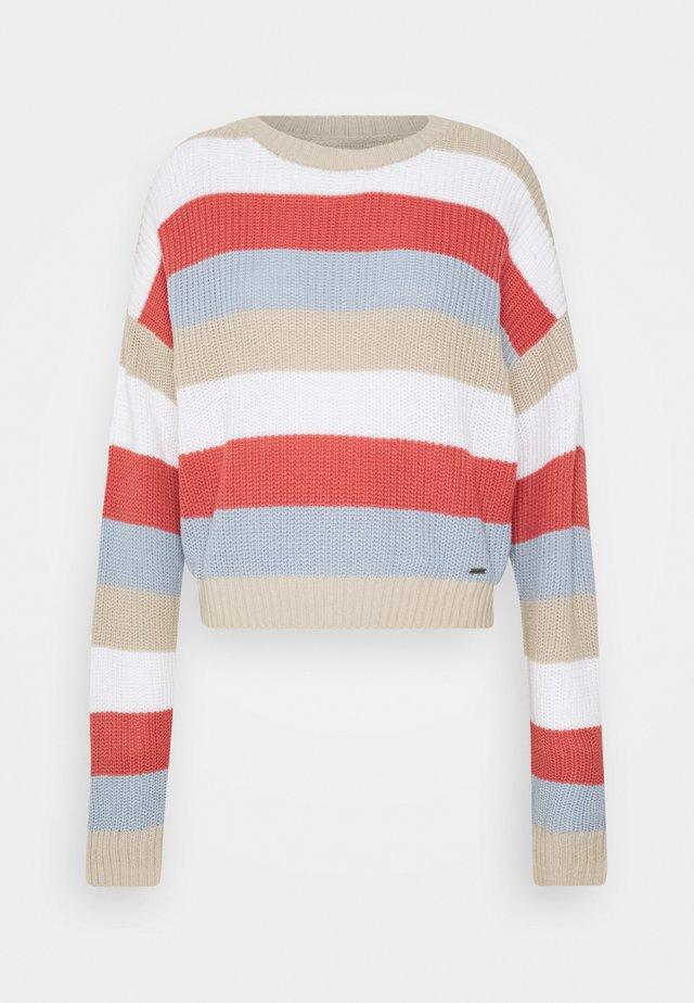 STRIPE HONEYCOMB CREW  - Trui - rust/light blue/white/tan