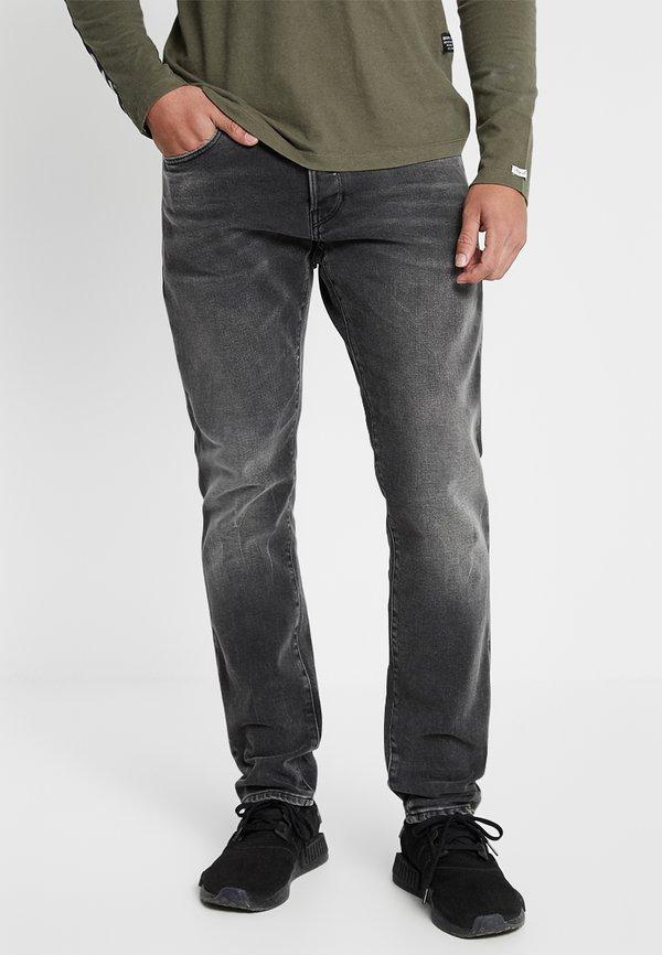 G-Star 3301 SLIM - Jeansy Slim Fit - nero black stretch denim - antic charcoal/czarny denim Odzież Męska QVLX