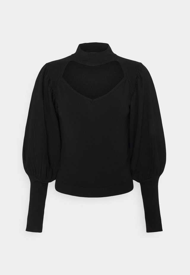 CUT OUT PUFF SLEEVE - Sweter - black