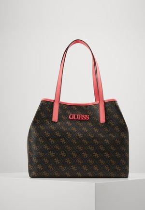 VIKKY TOTE - Handbag - brown / neon pink